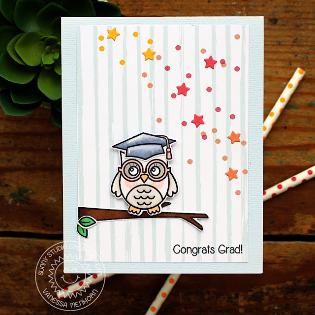 Sunny Studio Stamps: Congrats Graduation Girly Owl card by Vanessa Menhorn (using Woo Hoo stamps & Star Border die)