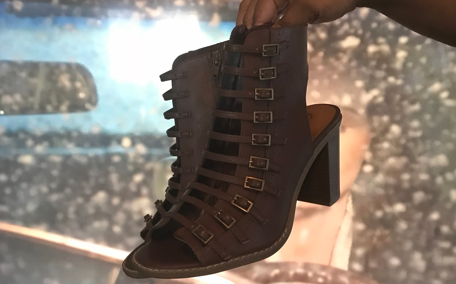 Image: Brown Open Toed Shoes. Woman finds the perfect pair at Catos Fashion shoe department. Would you wear these?