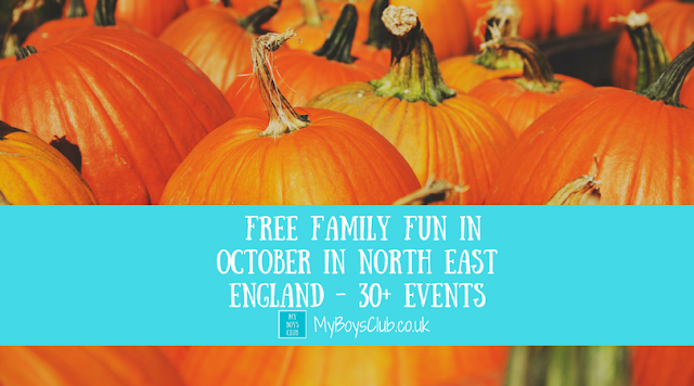 Listings of over 30 free family fun events and activities taking place during October in North East England.