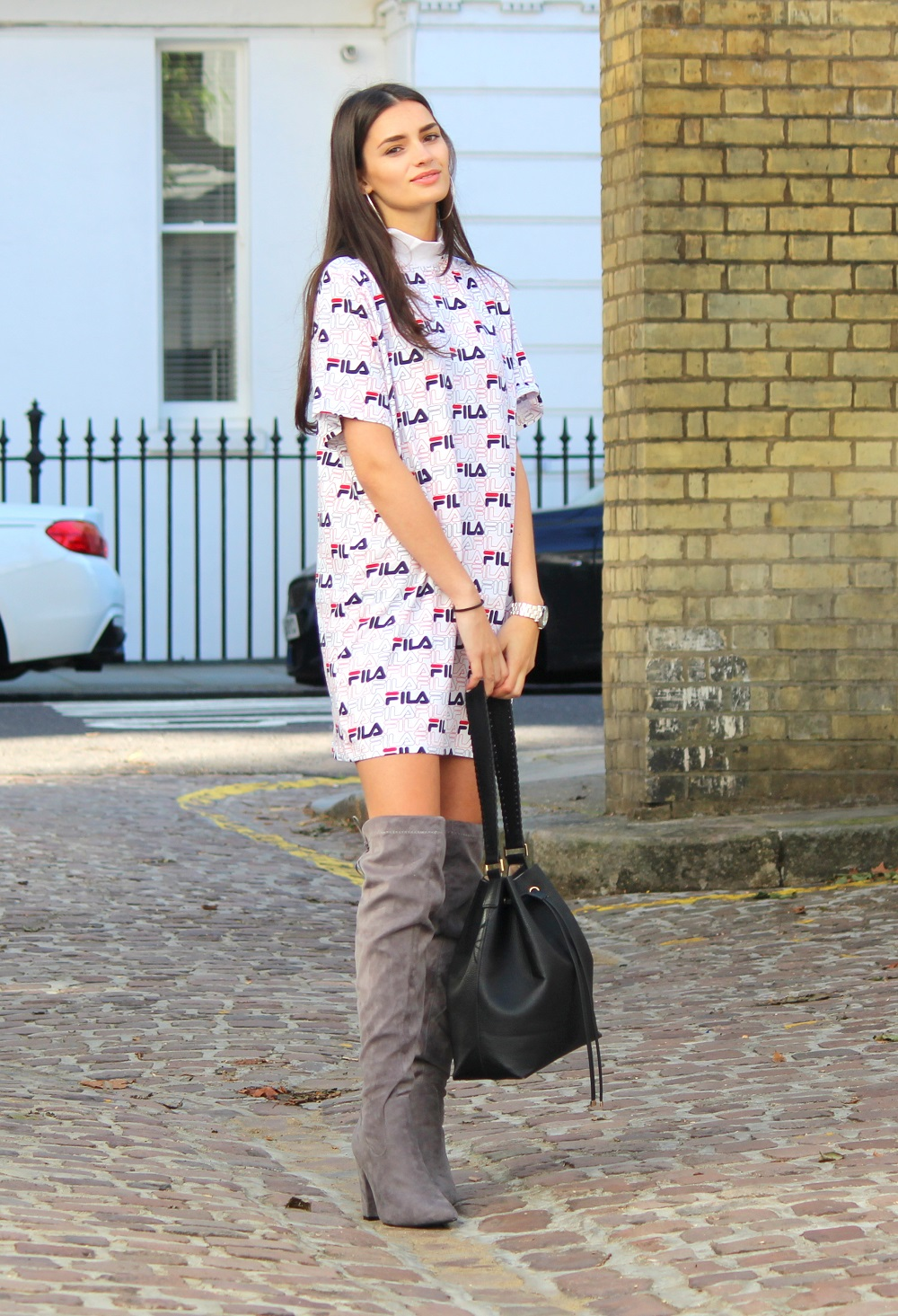 peexo fashion blogger wearing fila asos exclusive dress and knee high boots