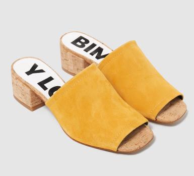 sandalia mule color azafran mostaza bimba y lola