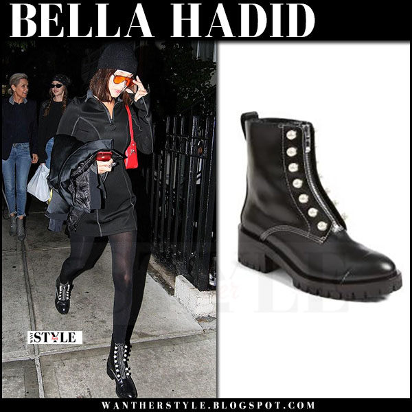 Bella Hadid in black pearl embellished ankle boots 3.1 phillip lim and orange sunglasses opening ceremony what she wore june 6 2017