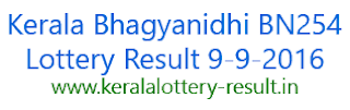 Bhagyanidhi BN254, Kerala Lottery result today Bhagyanidhi BN 254, Kerala Bhagyanidhi lottery result 9-9-2016, Kerala Lottery Bhagyanidhi BN-254