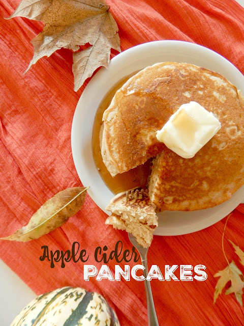 Apple Cider Pancakes...the ultimate Autumn breakfast!  Apple cider, nutmeg and cinnamon take a traditional buttermilk pancake mix up a notch to a new level.  Kid's love these pancakes! (sweetandsavoryfood.com)