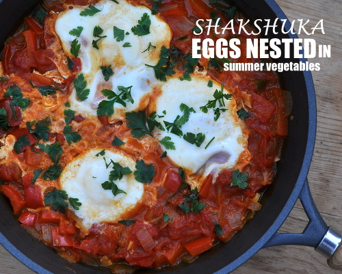 Shakshuka (Eggs Nested in Summer Vegetables), another healthy breakfast recipe ♥ KitchenParade.com. Fresh & Summery But Works Year-Round. Very Weight Watchers Friendly. Whole30 Friendly. Great for Meal Prep.