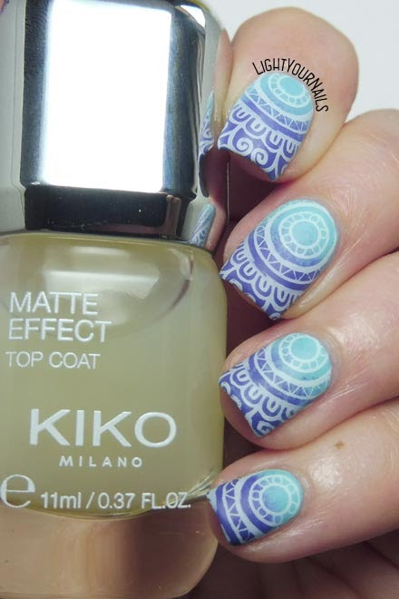 Nail art viola e azzurra Kiko BeautyBigBang XL-057 mandala purple and blue #nailart #kikonails #beautybigbang #nailstamping #lightyournails