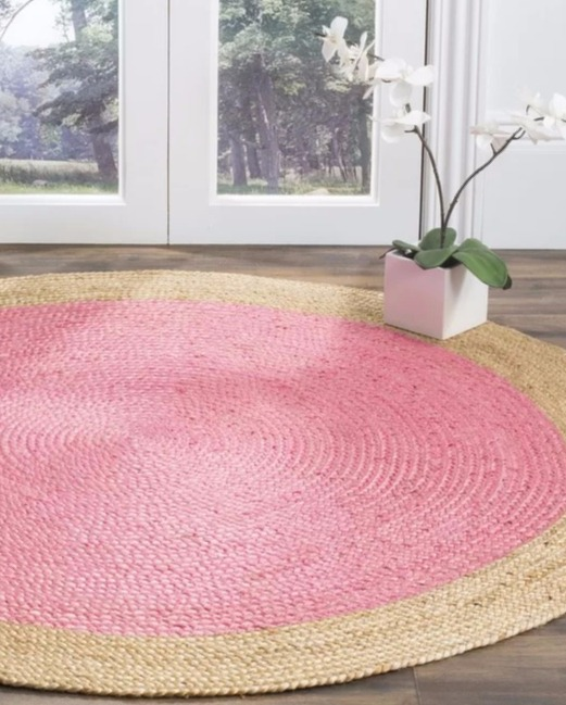 Pink Natural Fiber Rug for Coastal Style Living