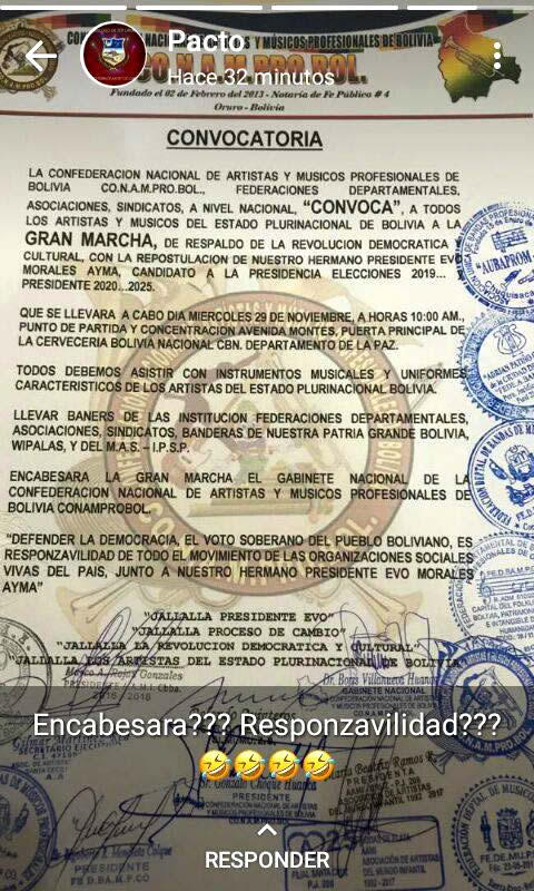 Convocatoria en apoyo a la repostulación de Evo Morales