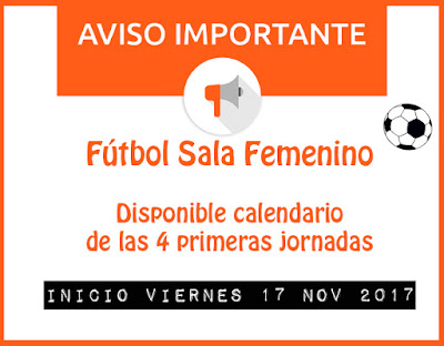 FÚTBOL SALA FEMENINO: Disponible calendario 4 primeras jornadas y campos de juego