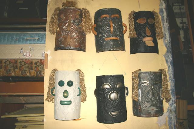 Found art face masks by Fred Leach