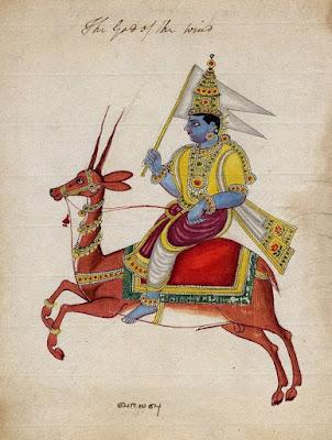 Diğer hava tanrıları olan Marutlarla birlikte görülür.