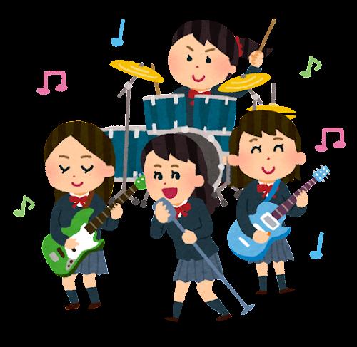 高校生バンドのイラスト(女子高生)