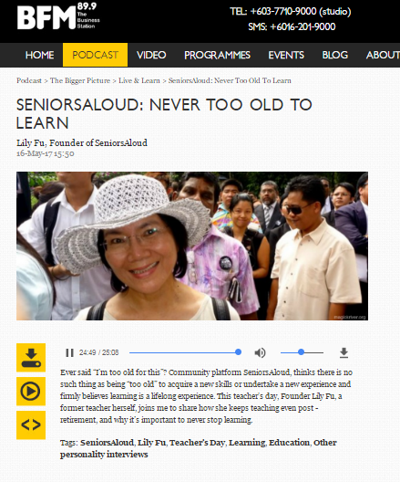 SENIORSALOUD ON BFM89.9 - 'NEVER TOO OLD TO LEARN'