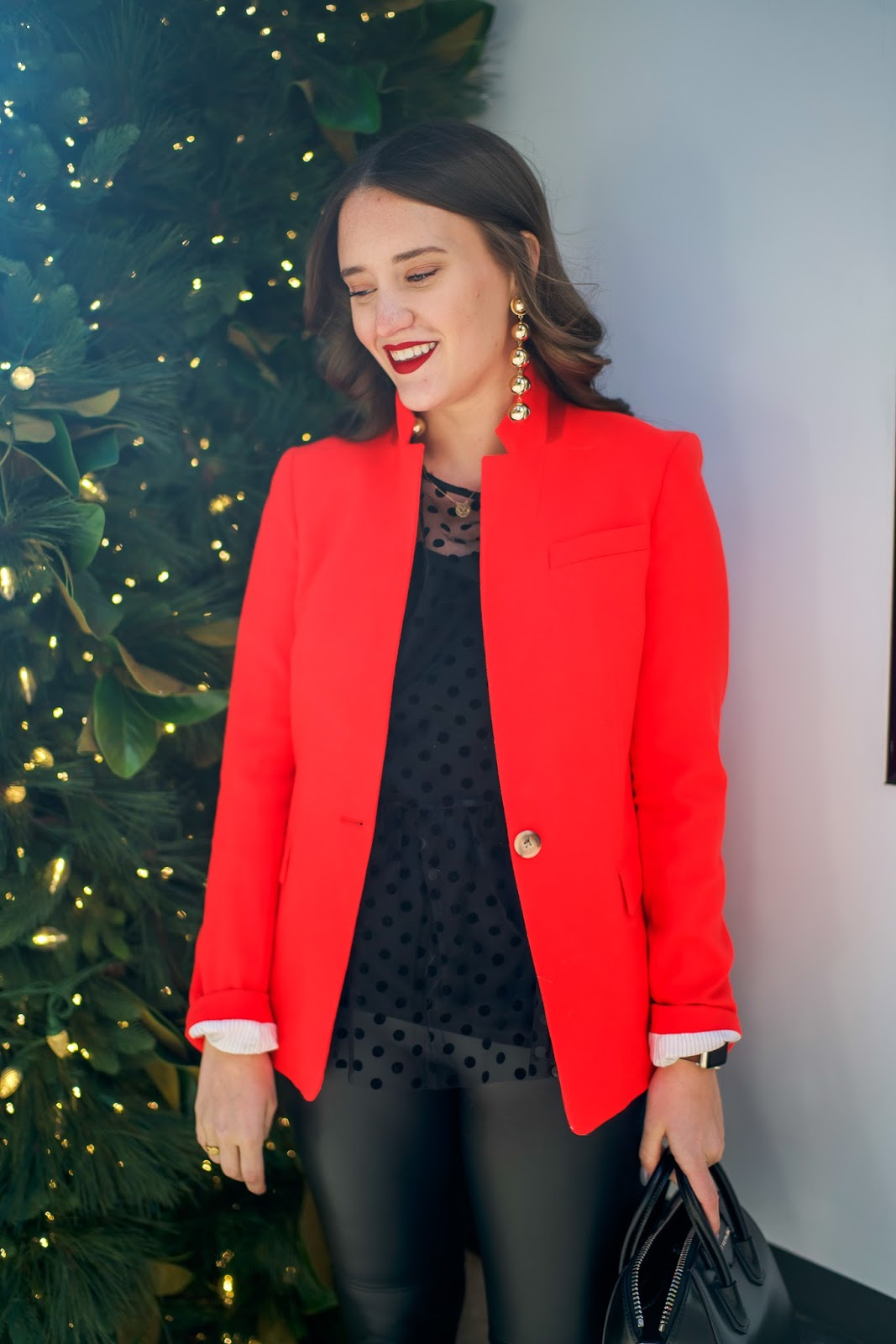 how to style leather leggings for an office party