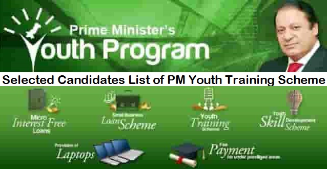 Selected Candidates List of PM Youth Training Scheme 2018