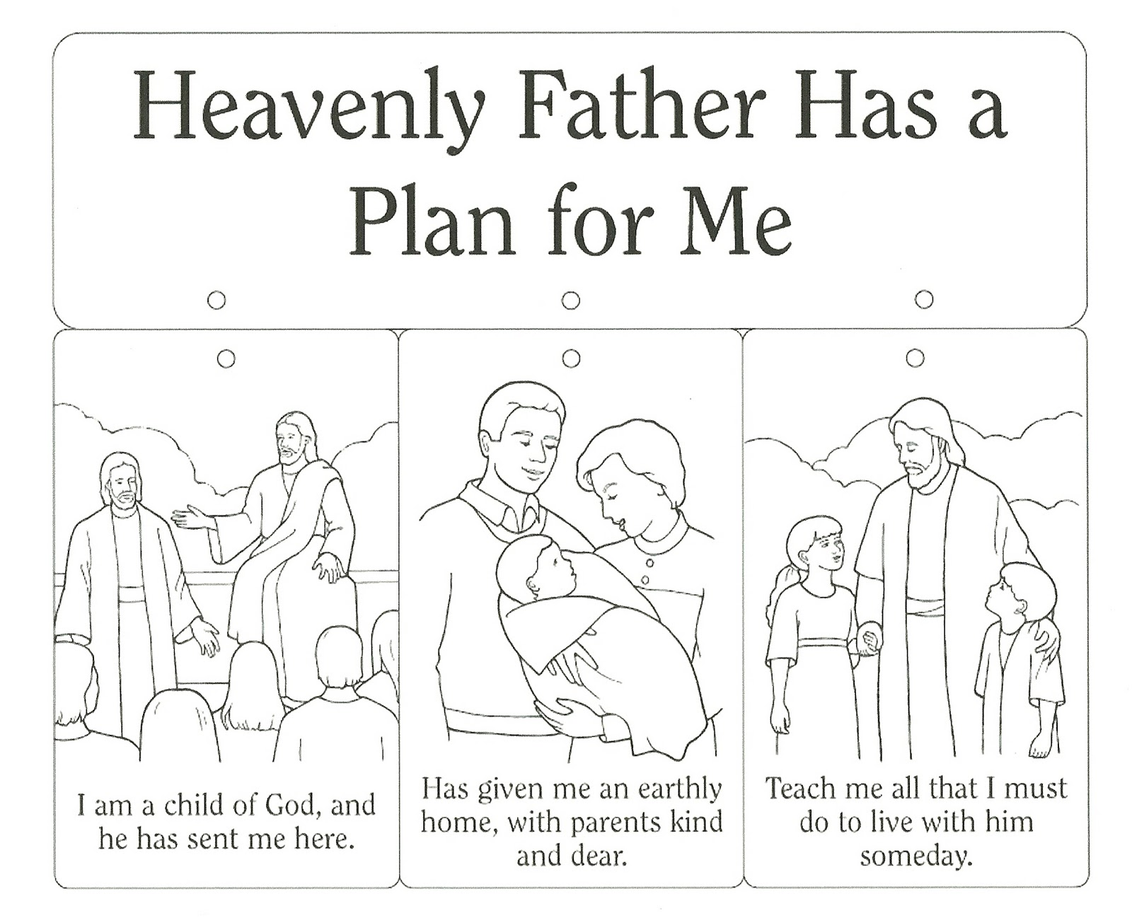 Happy clean living primary 3 lesson 2 for God is our father coloring pages