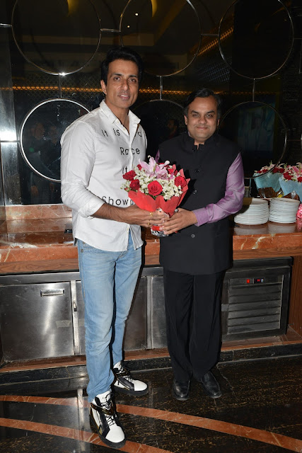 Mr. Anirudh Dhoot, Director, Videocon congratulating Sonu Sood for his movie 'Kung Fu Yoga'