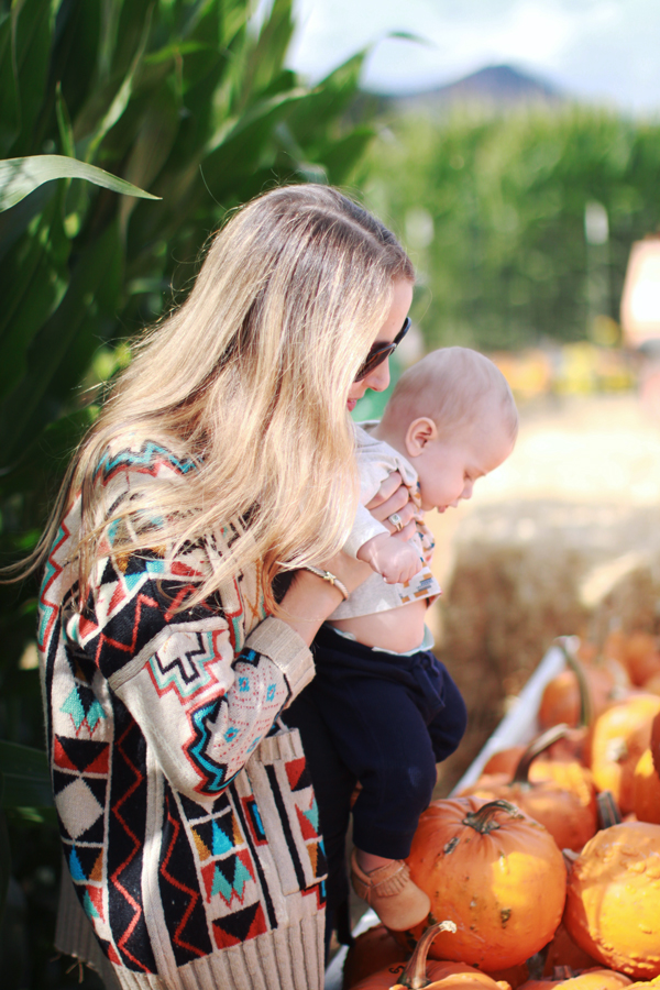 Mother-son fall style at the pumpkin patch