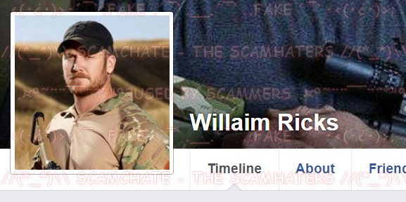 ScamHaters United Ltd: WILLAIM RICKS, using CHRIS KYLE, DIED