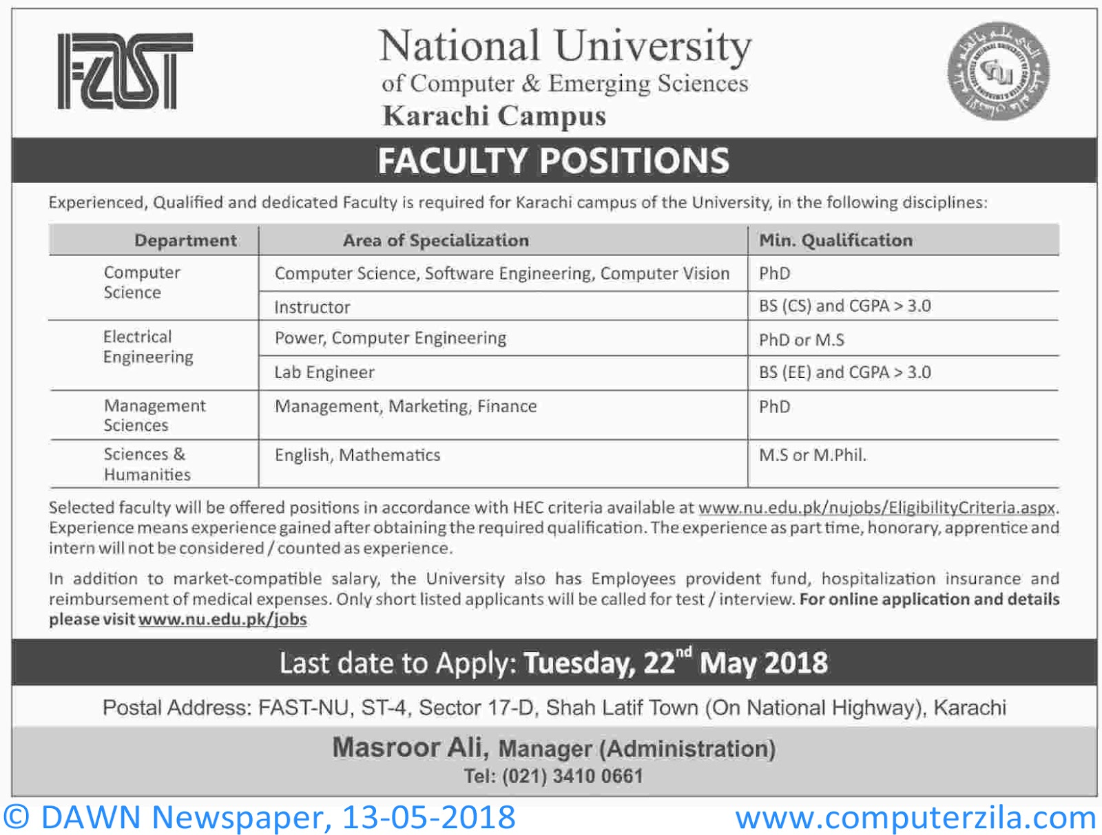 Faculty Positions At FAST at National University of Computer & Emerging Sciences