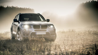 BMW car in a Foggy Autumn Day