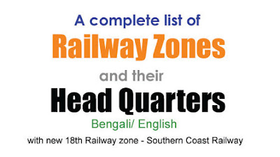 Railway Zones in India with Head quarters-full list