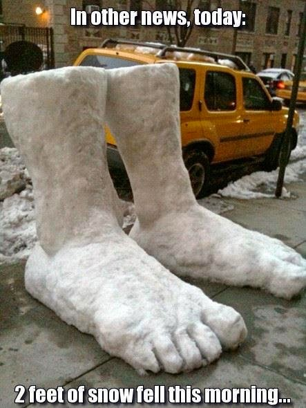 2 feet of snow fell