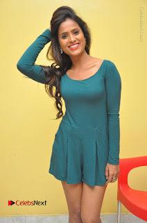 Telugu Actress Prasanthi Stills in Green Short Dress at Swachh Hyderabad Cricket Press Meet  0031.JPG