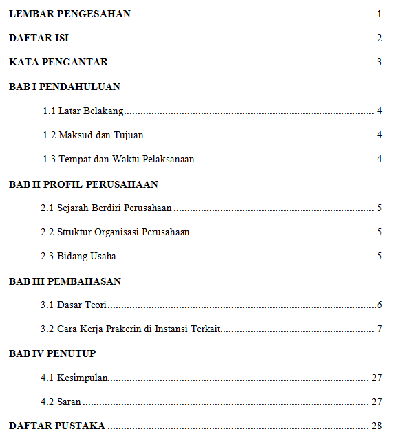 daftar isi laporan prakerin