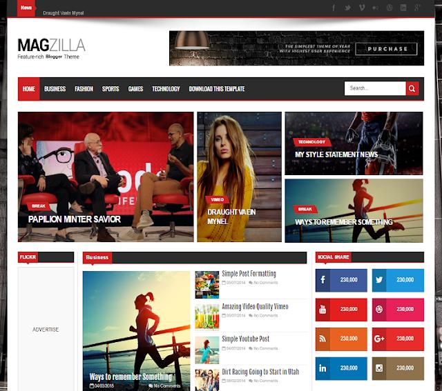Mag Zilla Magazine Blogger Template