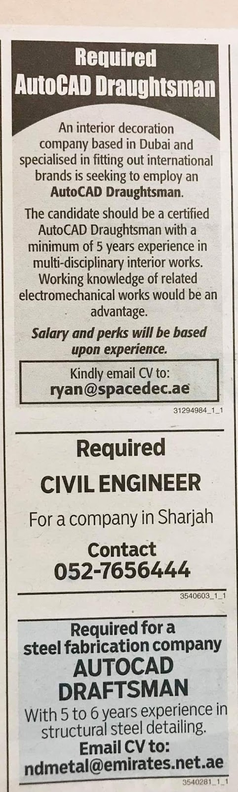 Required Autocad Draftsman  Civil Engineer for UAE JOBS Local