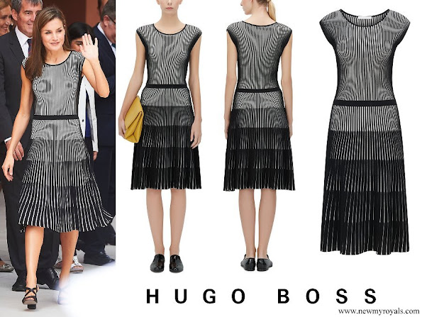 Queen Letizia wore Hugo Boss Franca Stretch Cotton Dress