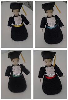 boneca crochê, boneca garrafa pet, boneca formatura, boneca formanda