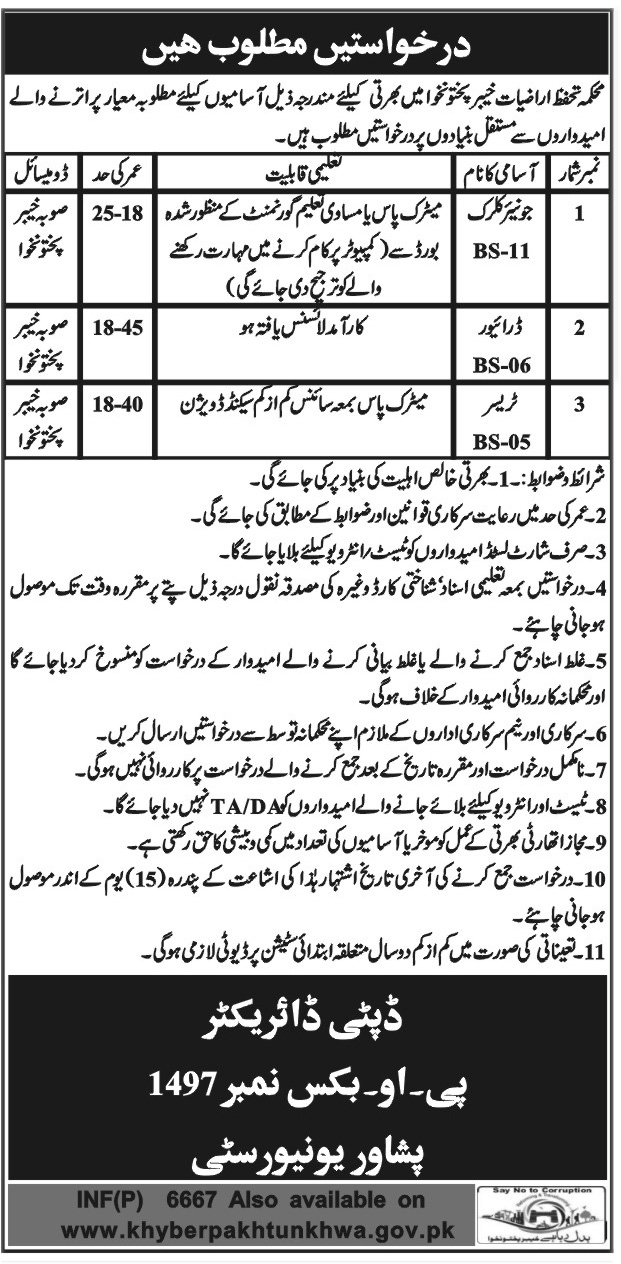 Jobs In Geology Protection Department Khyber Pakhtunkhwa Nov 2017