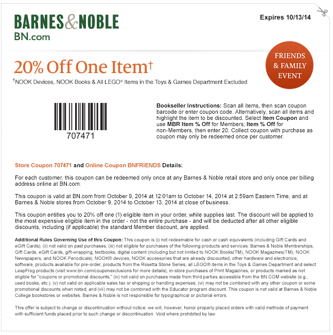 barnes and noble coupons 20 percent off