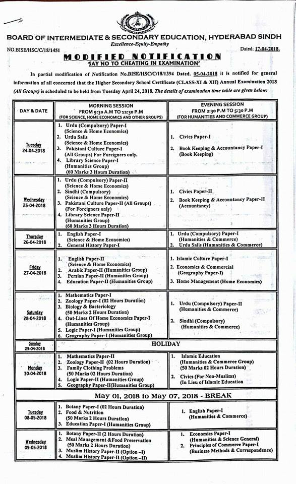 BISE Hyderabad Introduction, Date Sheet of FA, FSc 2018,  Download BISE Hyderabad Board HSSC Date Sheet, Intermediate Date Sheet Hyderabad, Date Sheet