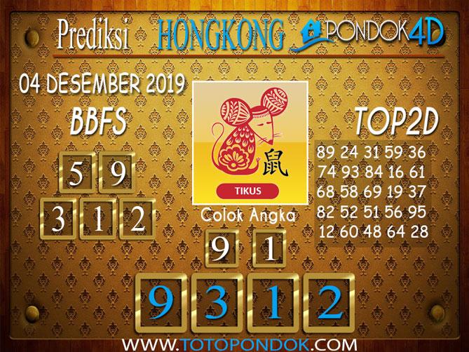Prediksi Togel HONGKONG PONDOK4D 04 DESEMBER 2019