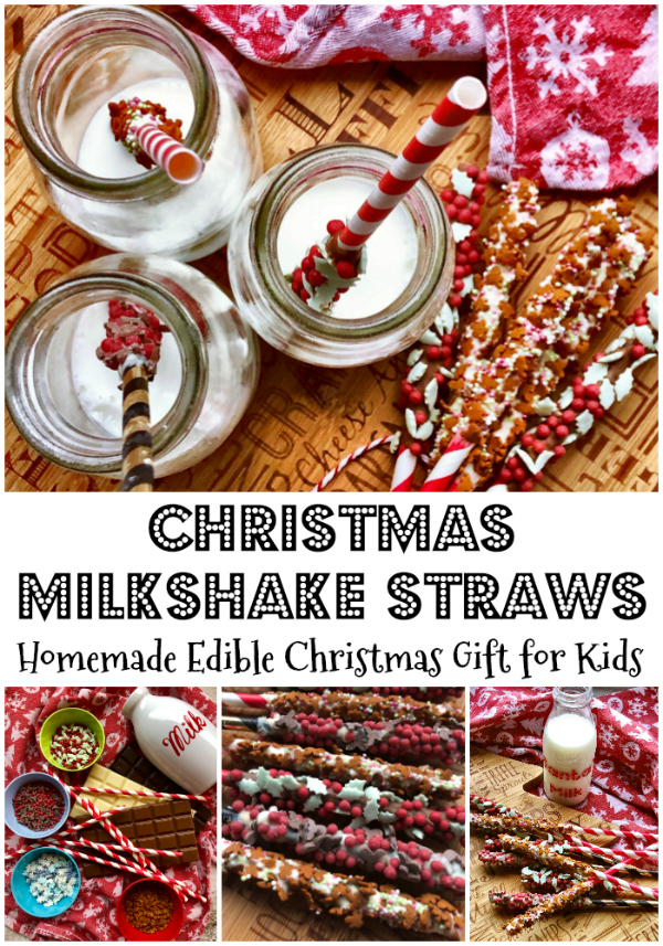 www.foodiequine.co.uk  Christmas Milkshake Straws are a great fun no bake festive treat. Ideal for kids to help make - and the perfect homemade edible gift. So simple but very effective and great fun to drink milk through as it turns chocolatey.