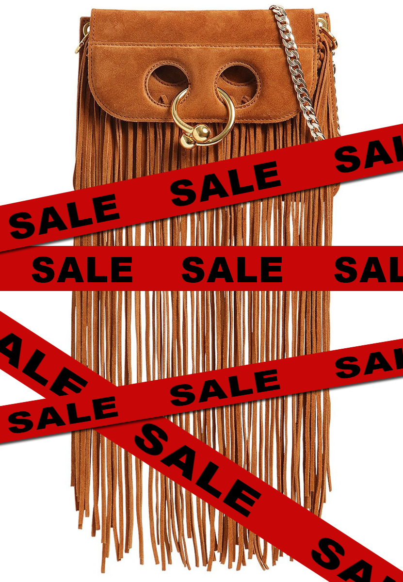 J.W. Anderson Bohemian Long Fringe Suede Handbag on Sale