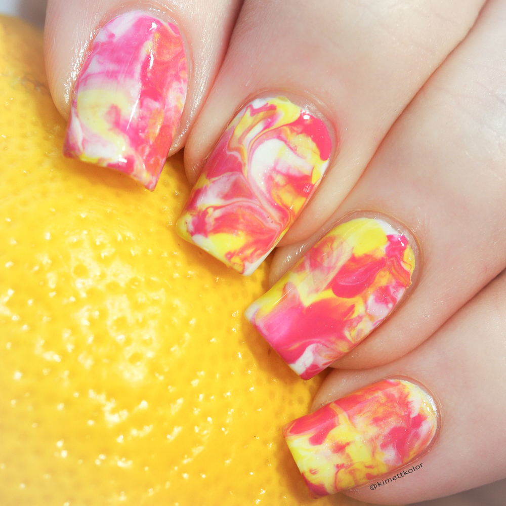 KimettKolor Pink Lemonade Smoosh Nail Art