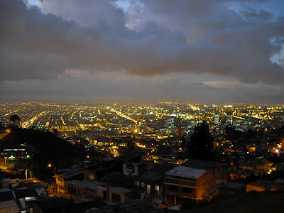 A twilight scene of downtown Bogotá