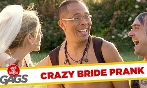 Crazy Bride Pushes Homeless Man Into Water