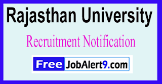 Rajasthan University Recruitment Notification 2017 Last Date 23-06-2017