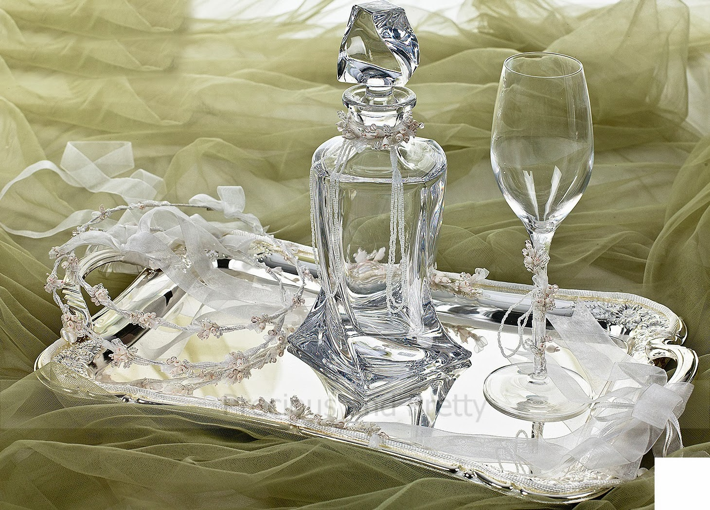 Greek wine decanter set crystal