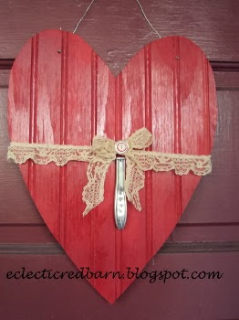 Red Barn: Upcycled bead board valentine with stamped knife handle
