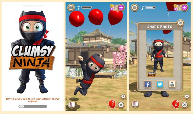 Clumsy Ninja v1.25.0 Apk + Datos SD Mod [ilimitado Monedas / Gemas]