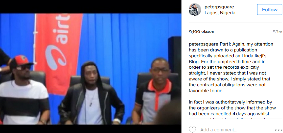 Congo show: Peter Okoye reacts to the video of him promoting it, says he was told the show had been cancelled