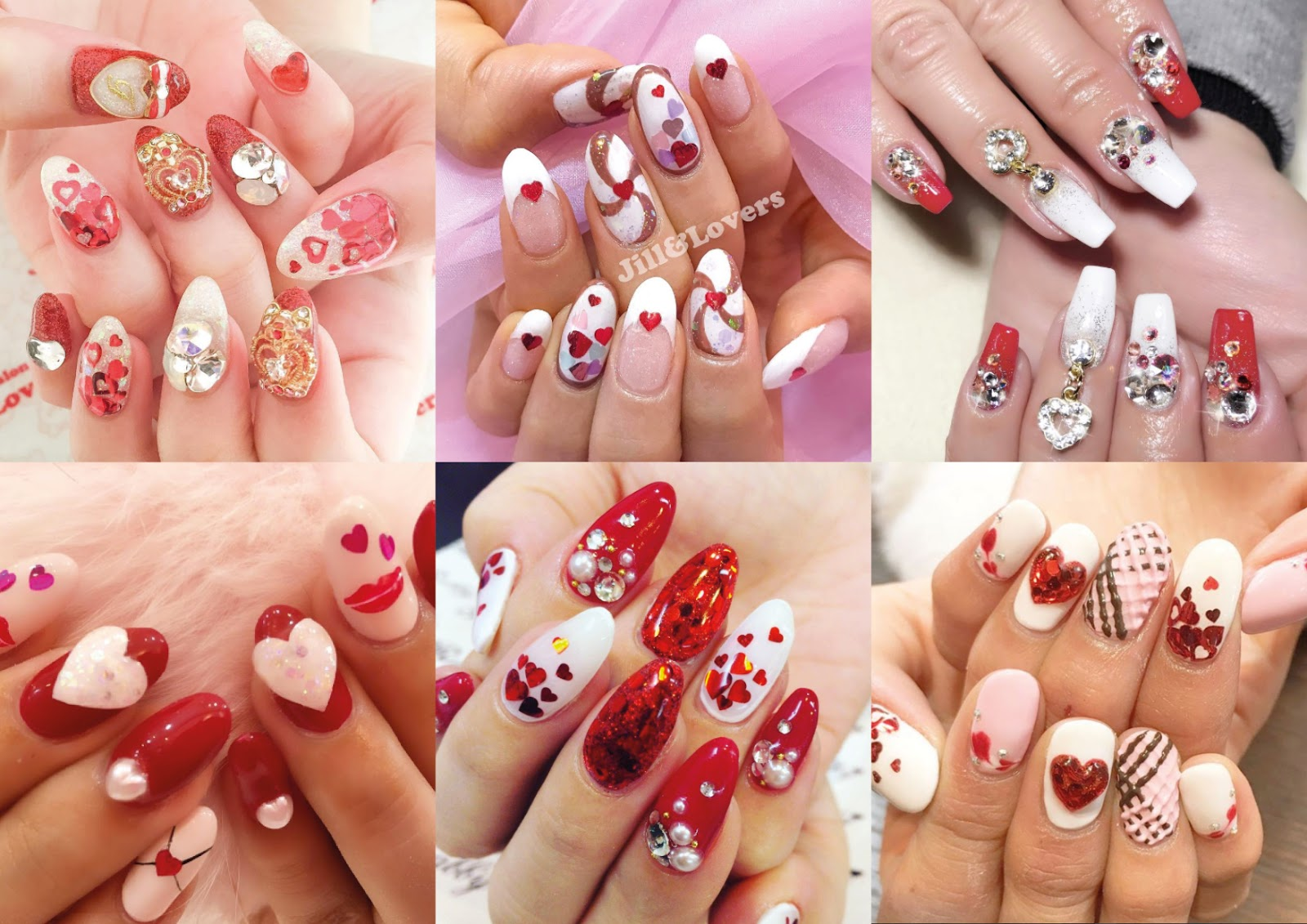 red and white valentines day nails