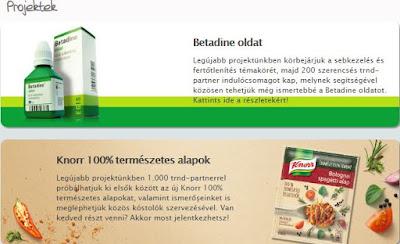 Knorr és Betadine terméktesztelés