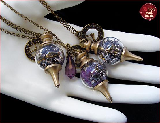 collier steampunk fiole verre toupie bronze